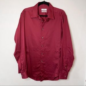 CALVIN KLEIN Maroon Button Down Dress Shirt